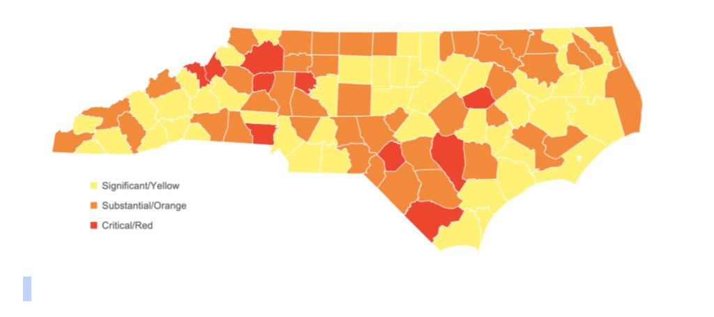 Condados más afectados por el covid-19 en Carolina del Norte